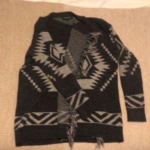 Cozy southwest gray and fringe cardigan